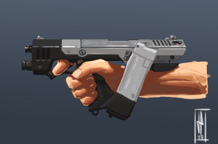 Concept for a short-profile pistol. The clip is offset to ...