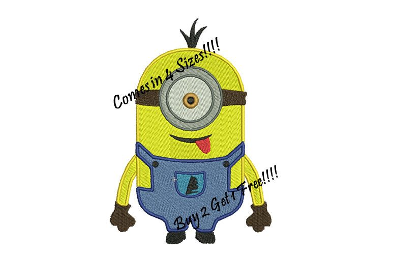 Kevin the minion embroidery design pattern filled by