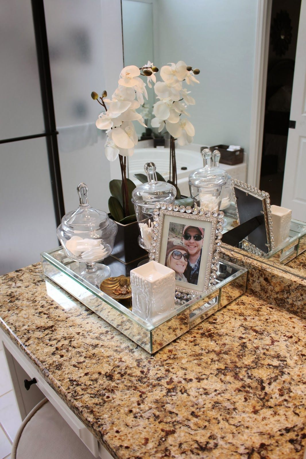A spa bathroom re do bathroom bathroom counter decor - How to decorate a bathroom counter ...