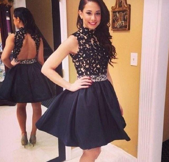 Cute Black Graduation Dresses Backless Lace Appliques Short 8th ...