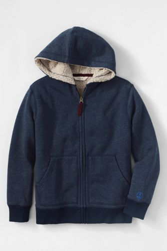 47180fe9f Boys' Long Sleeve Solid Sherpa Hoodie from Lands' End | clothes ...