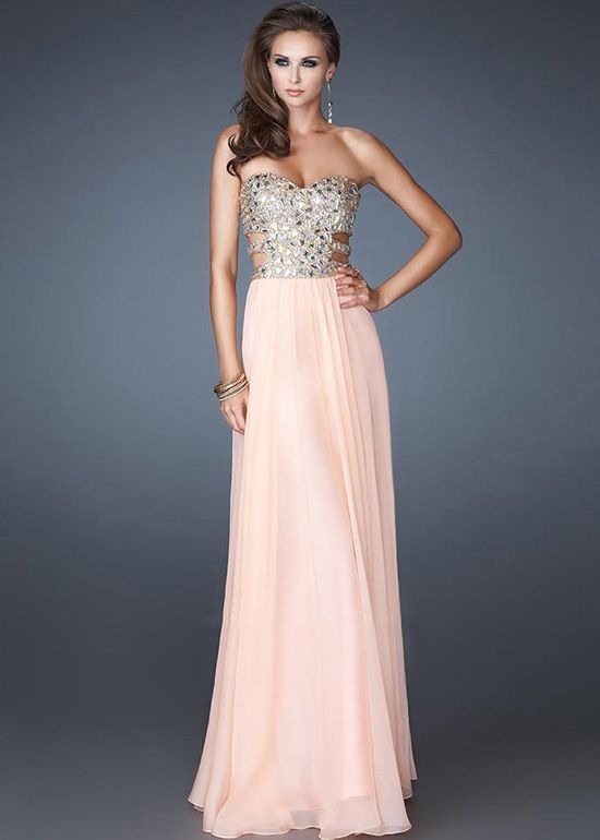 Cut Outs Side Apricot Chiffon Beaded Sweetheart Evening Gowns-MIYA
