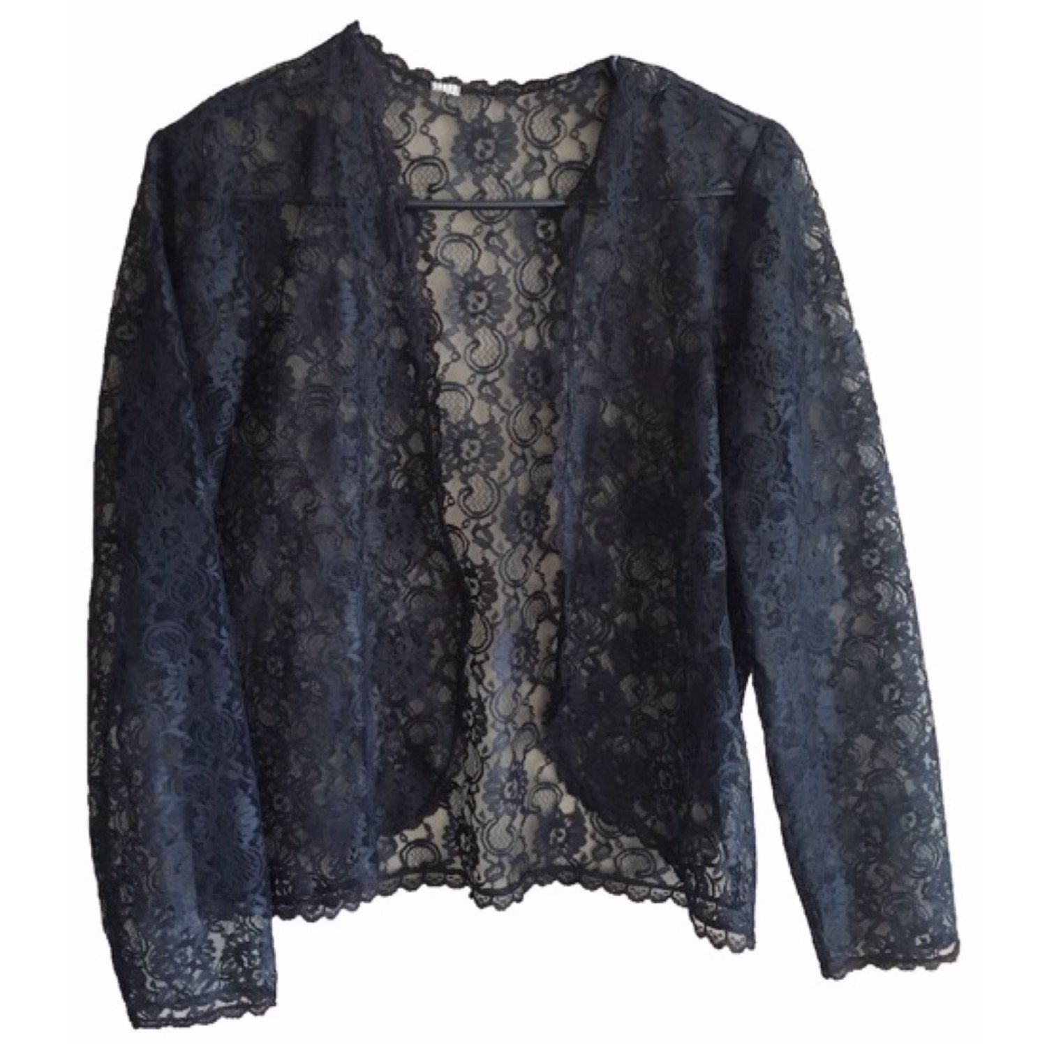 Black Lace Cardigan Cover up vintage long sleeve scalloped lace ...