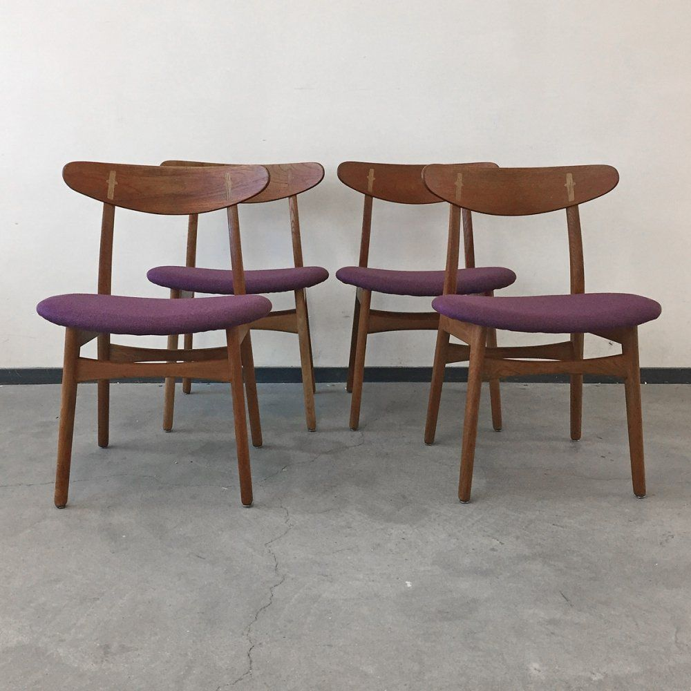 For Sale Set Of 4 Hans Wegner Model Ch30 Dining Chairs By Carl