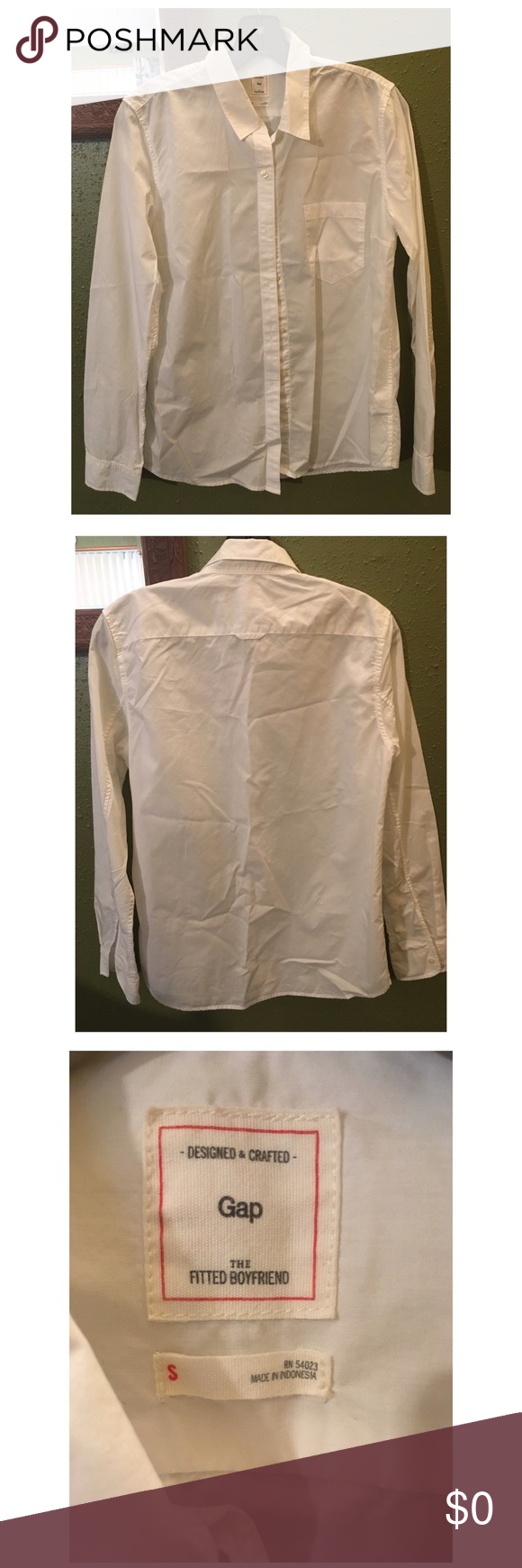 White button down collar shirt Soft and comfy! Wear it with jeans and a your comfiest shoes GAP Tops Button Down Shirts