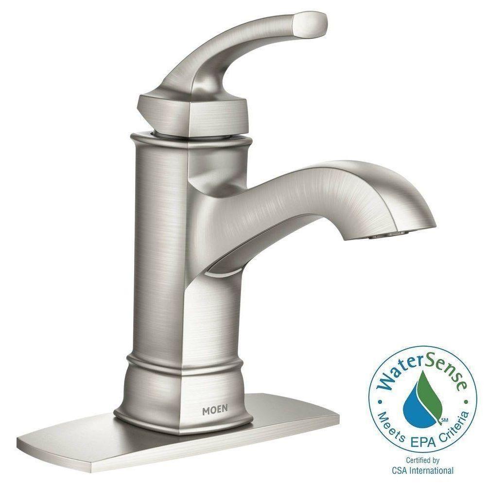 MOEN Hensley Single Hole Handle Bathroom Faucet Featuring - Moen boardwalk bathroom faucet for bathroom decor ideas