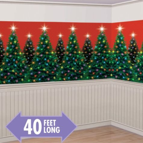 Christmas Trees Room Roll - Party City