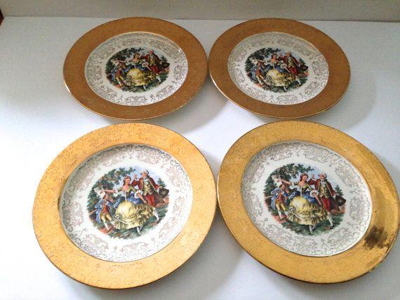 Crest O Gold 9 Inch Dinner Plates Set of Four & Crest O Gold 9 Inch Dinner Plates Set of Four | Crests Plate sets ...
