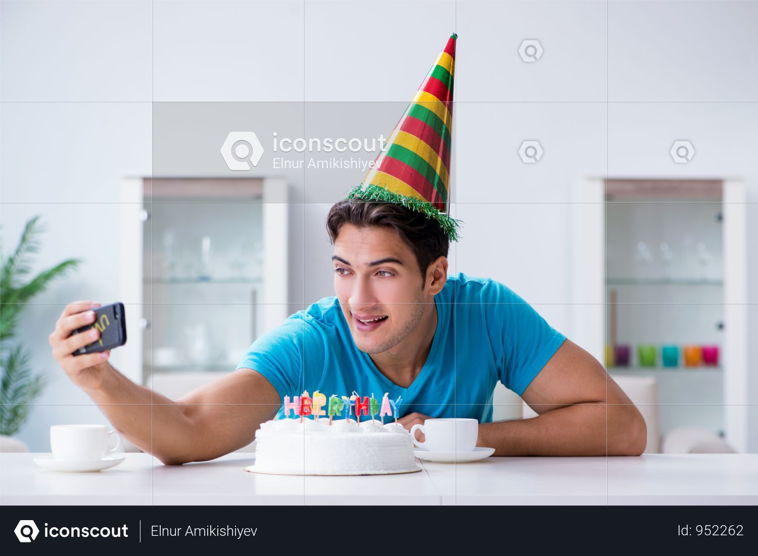 Premium Young Man Celebrating Birthday Alone At Home Photo Download In Png Jpg Format Home Photo Celebrities Home Alone
