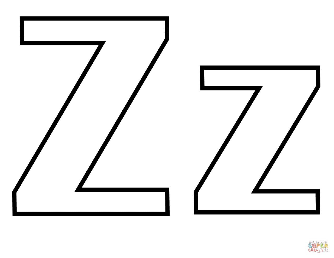 Classic Letter Z Coloring Page Free Printable Coloring Pages Coloring Pages Alphabet Letter Templates Printable Letters