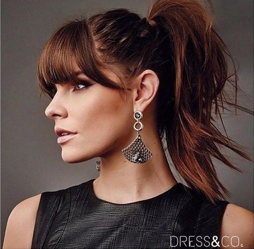 20 Great Ponytails With Bangs Inspiration Ideas Hairstyles With Bangs Medium Hair Styles Cute Hairstyles For Medium Hair