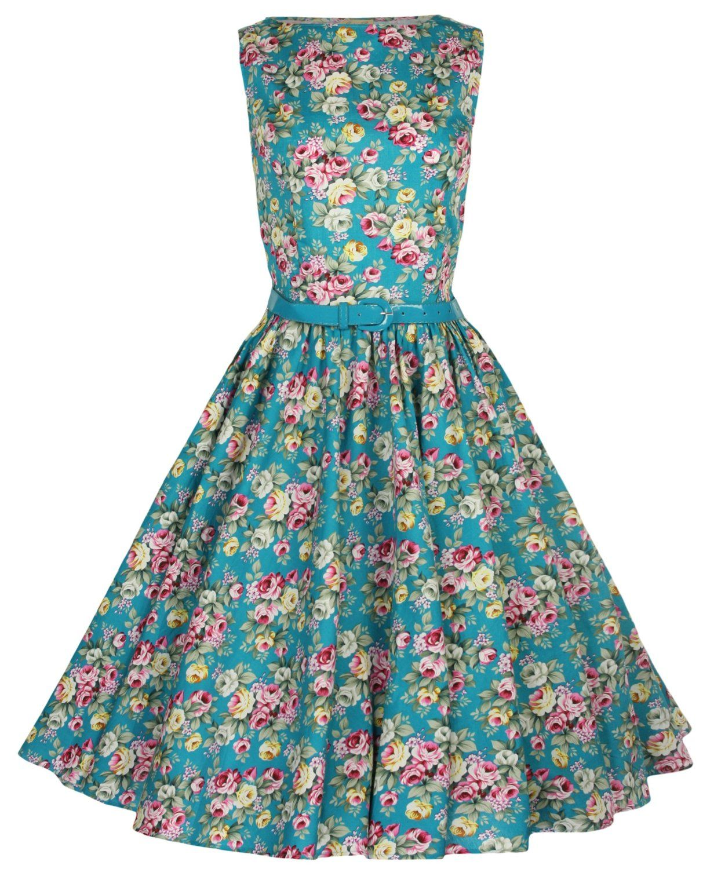 Lindy Bop Classy Floral Print Audrey Hepburn Style Vintage 1950 s Pinup  Dress  Amazon.co.uk  Clothing 61d3ea6426