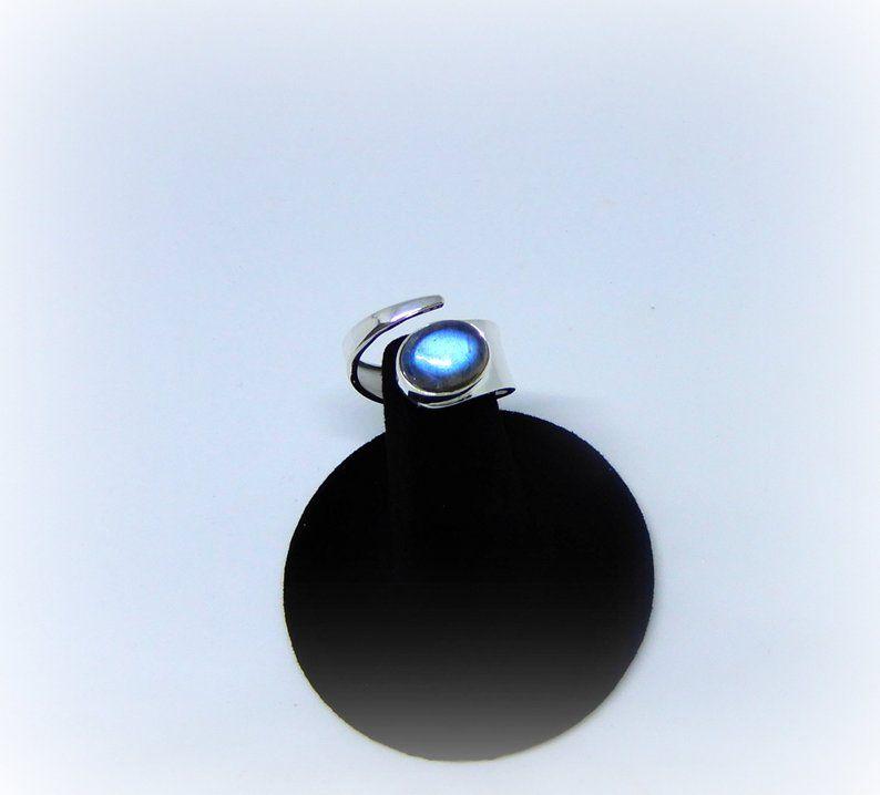 GSA Blue Flash Labradorite Ring GemStoneAppeal Adjustable Labradorite RIngs Labradorite Ring Sterling Silver Labradorite Ring