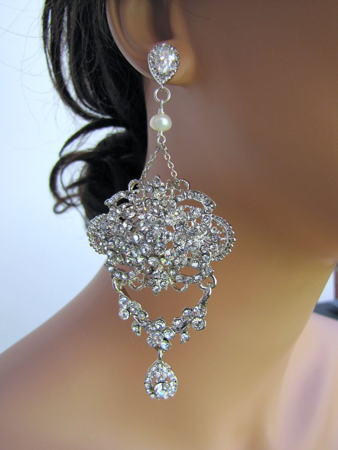980ce95ca1d049 Bridal chandelier earrings, wedding statement earrings for brides, large  dangle earrings, rhinestones & cz sterling silver posts - Chelsea.