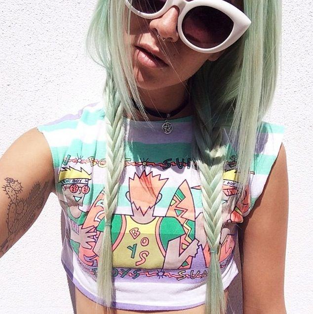 Pale green plaits // braids