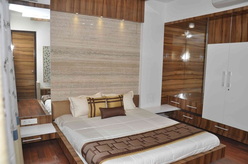 Luxury Bedroom With Long Headboard By Rajni Patel Interior Designer In Ahmedabad Gujarat