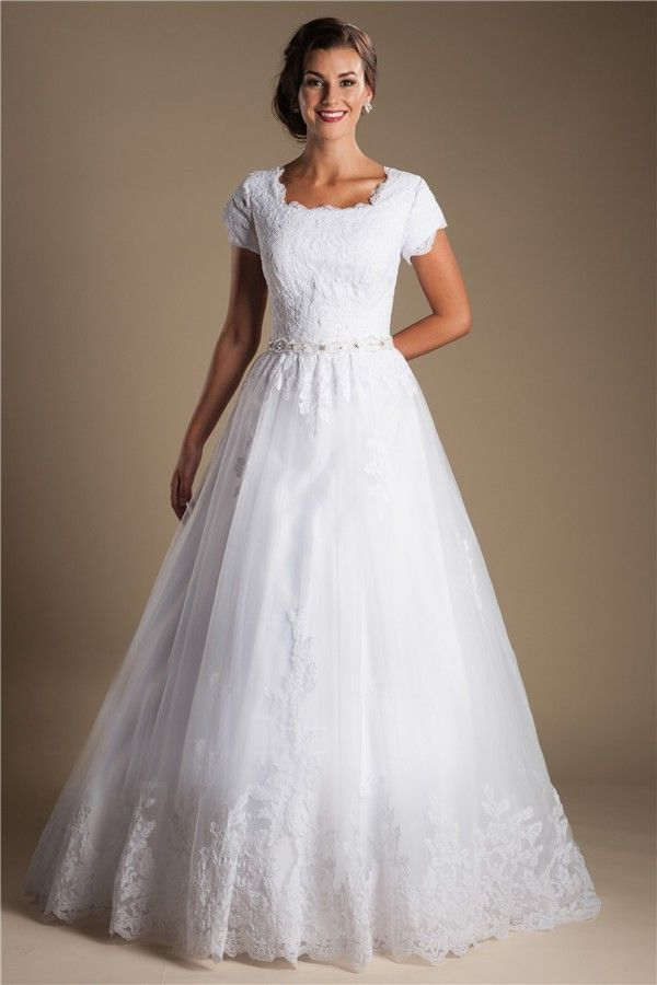 Modest Ball Gown Short Sleeve White Tulle Lace Wedding Dress With