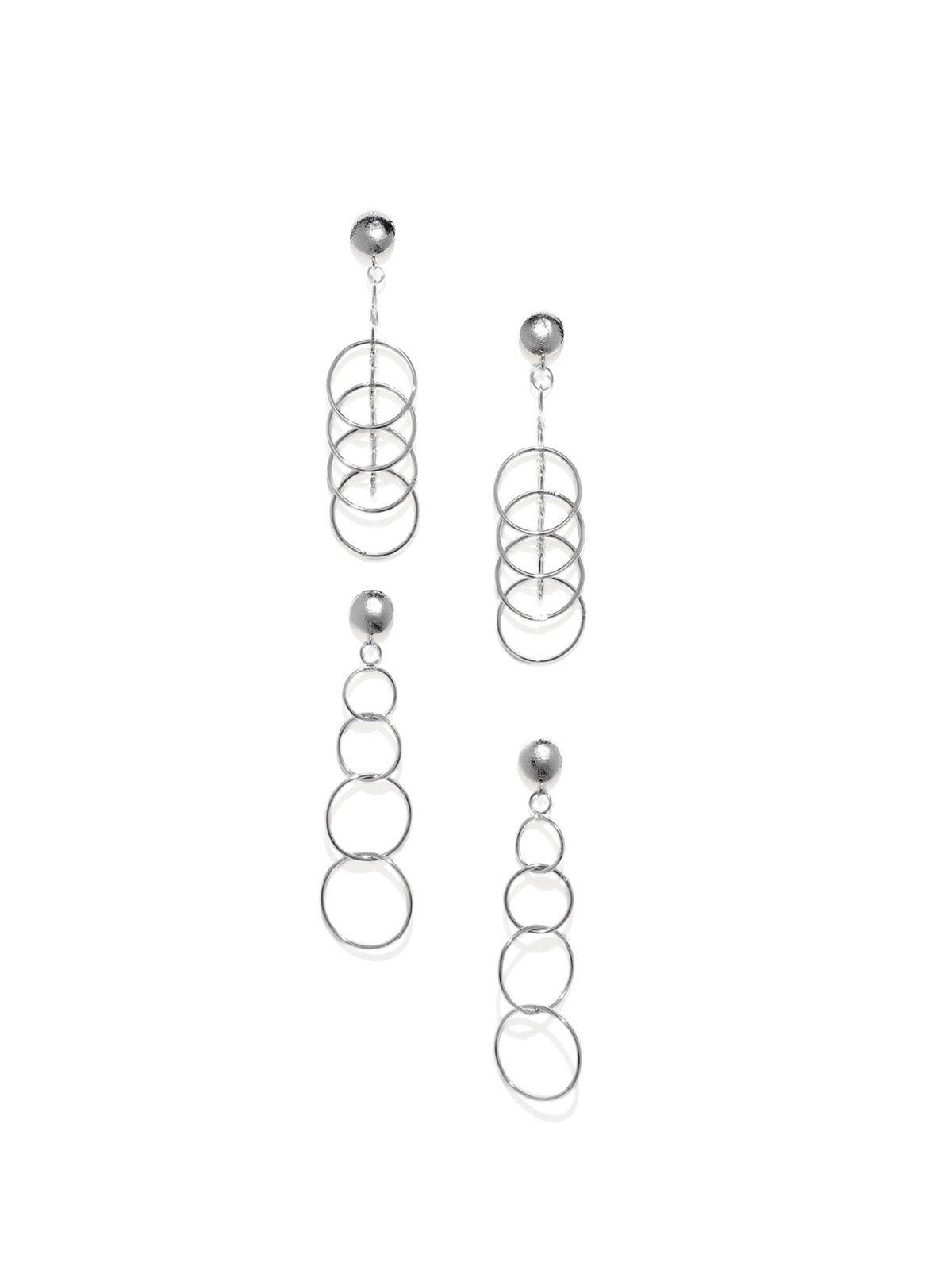 Combo of silver tone multi layer rings dangler earring zaveri