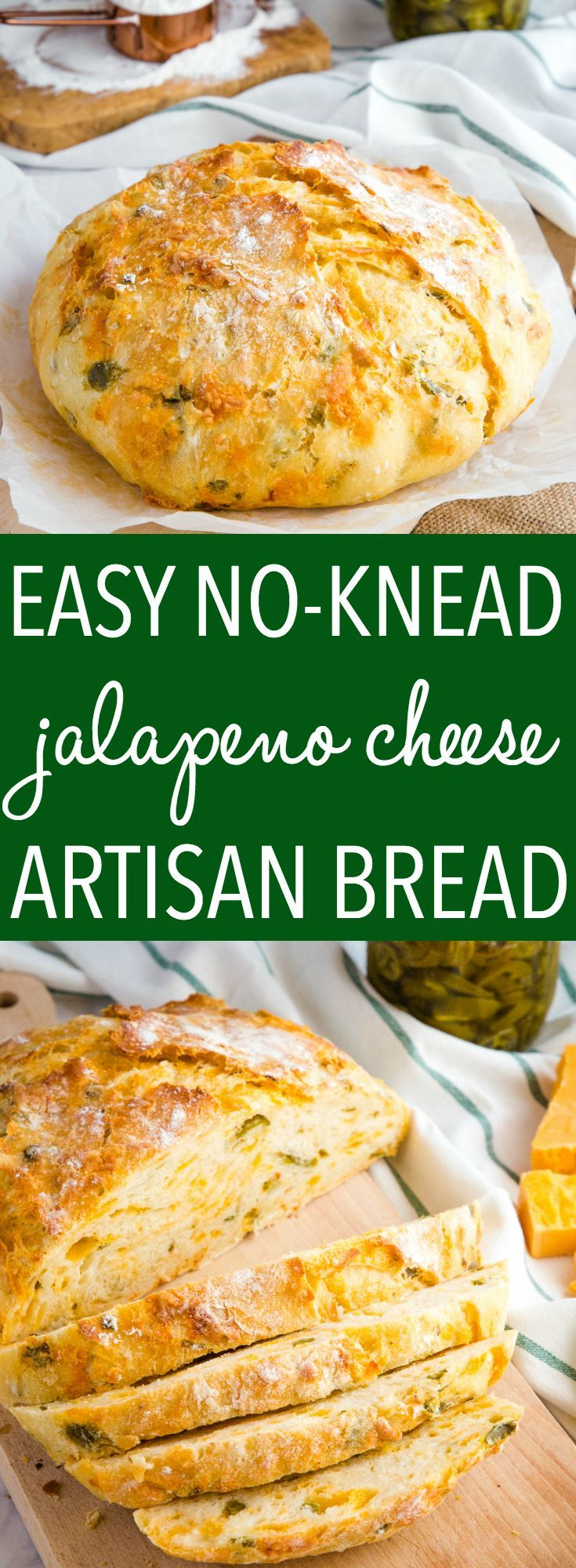 Easy No Knead Jalapeno Cheese Artisan Bread This Easy No Knead Jalapeno Cheese Artisan Bread is the BEST savoury bread for sandwiches! It's packed with spicy pickled jalapeños and real cheddar cheese! Recipe from ! via @busybakerblog