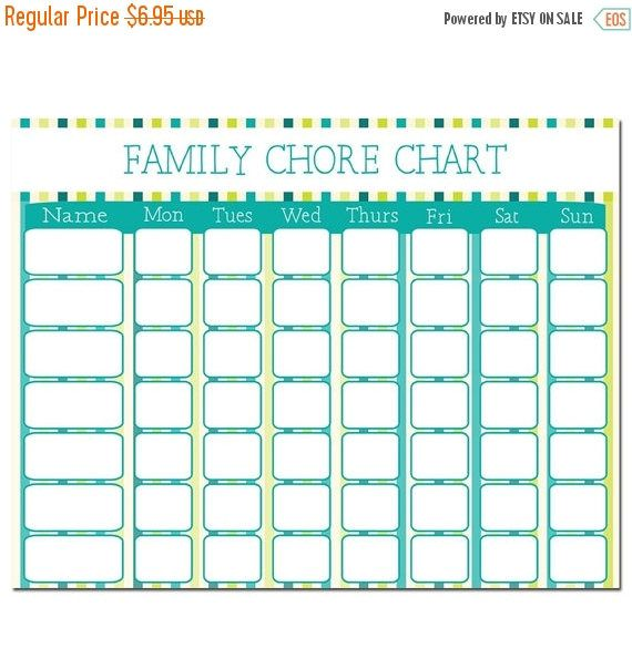 Sale Family Chore Chart - Instant Download - Teal Chore Chart - Sale Chart