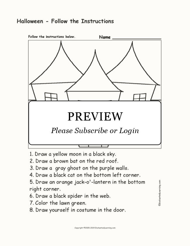 Halloween - Follow the Instructions - Enchanted Learning ...