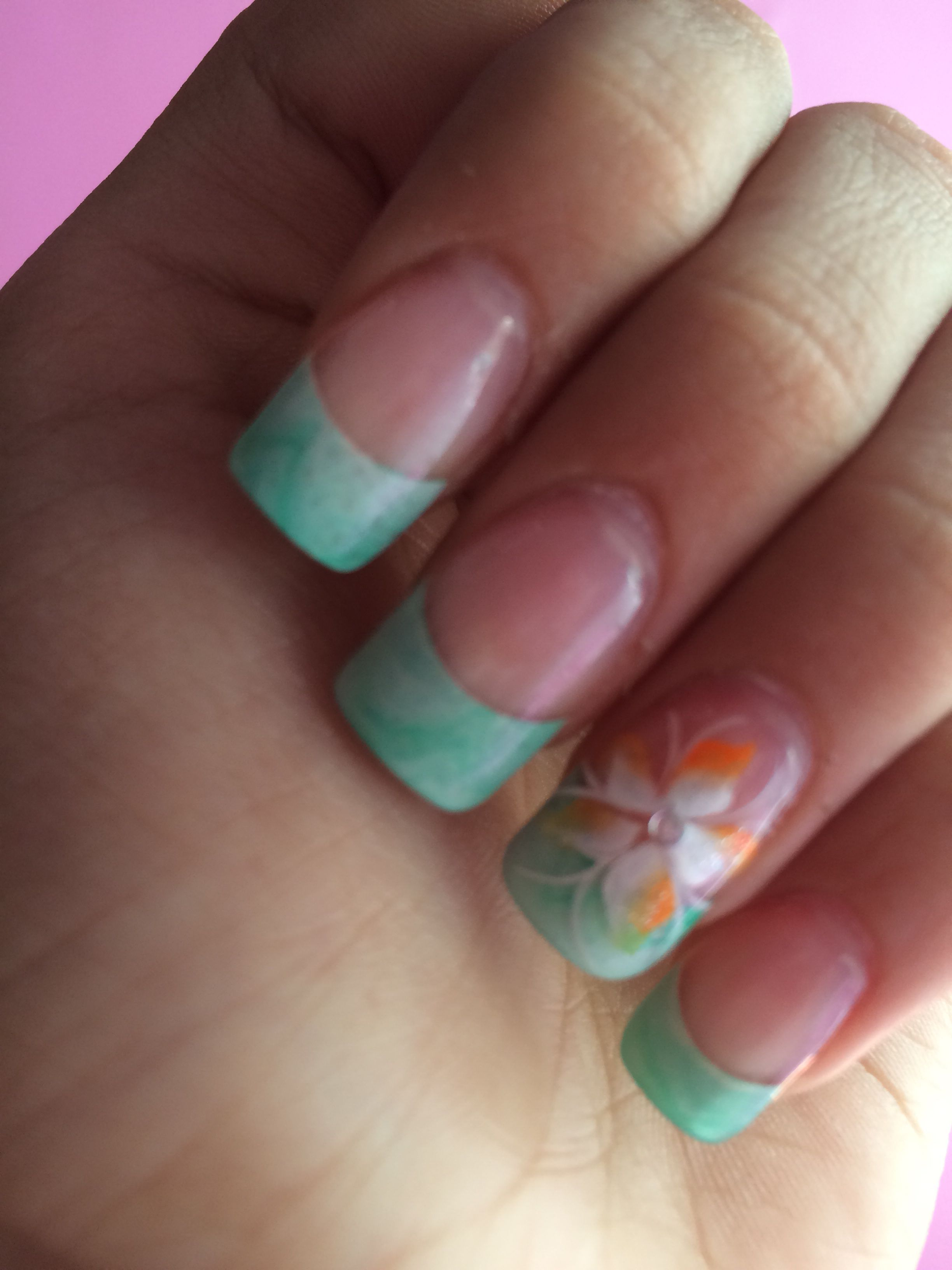 Mint And Coral Nail Art My Style Pinterest Coral Nail Art And