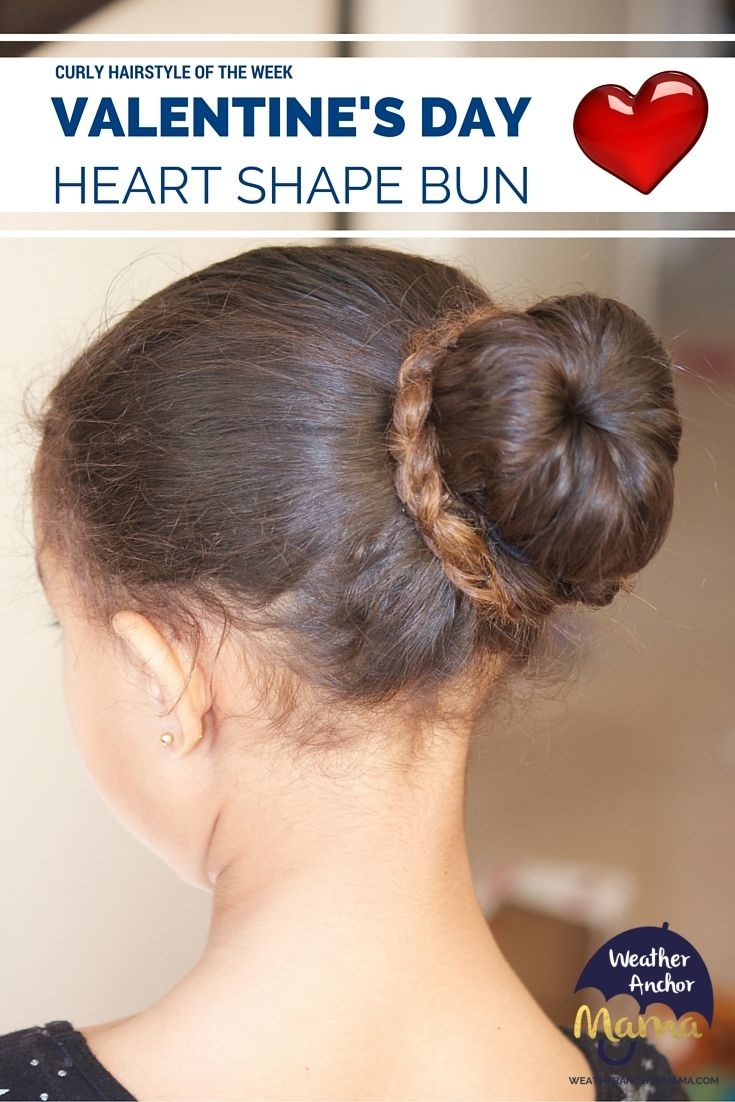 Curly hairstyle of the week valentineus day heart shape bun curly