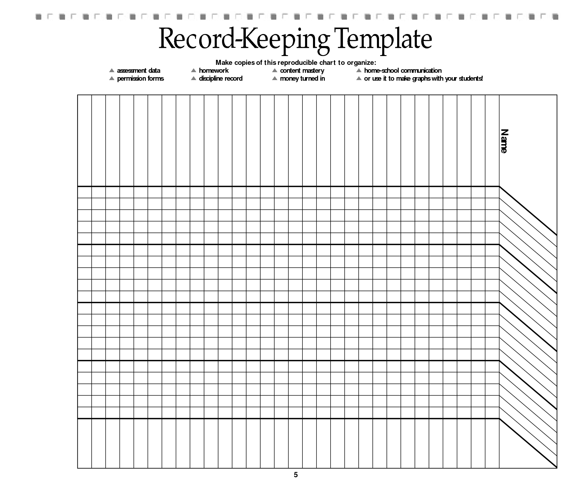 Homework Record Templates For Teachers