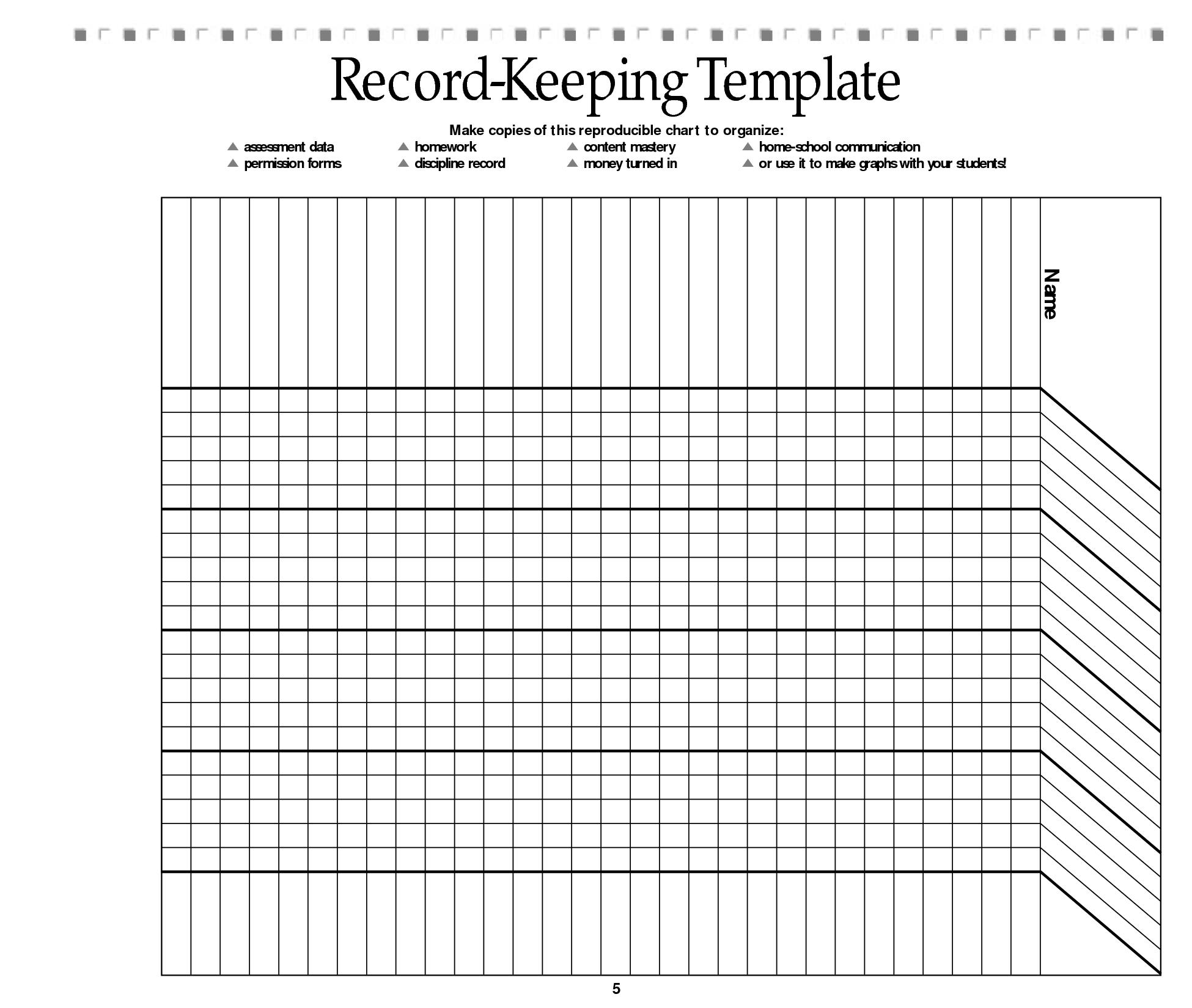 Homework Record Templates For Teachers