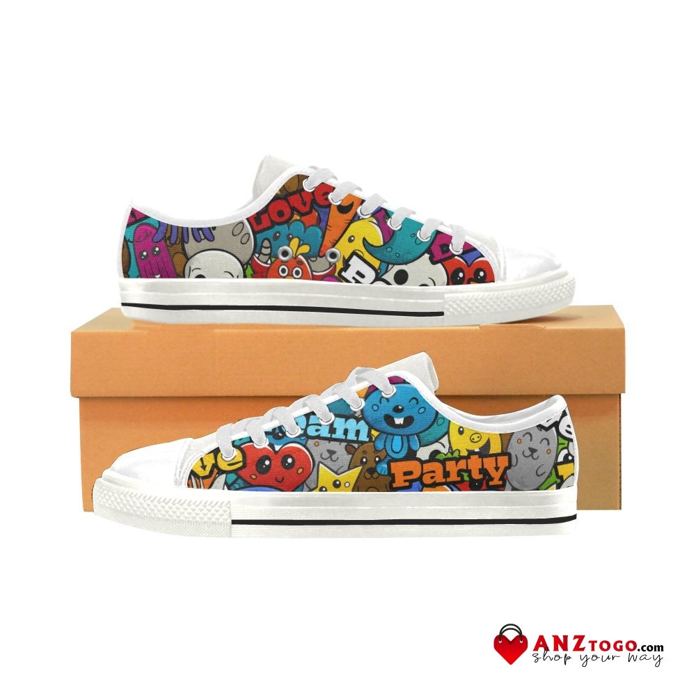Colored Feathers Down Slip On Canvas Upper Sneakers Painted Canvas Shoes Casual Shoe for Women Round Toe