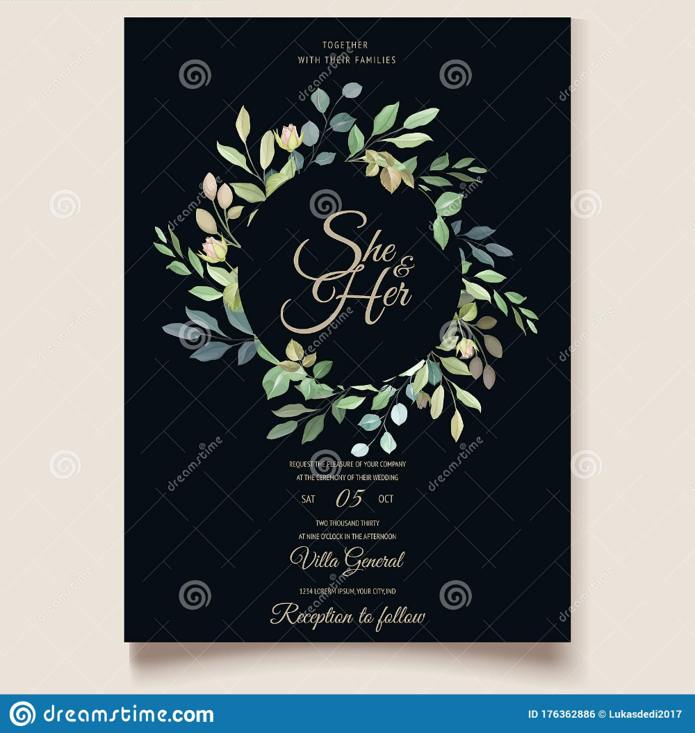 Beautiful Wedding Invitation Card With Watercolor Floral And Leaves Stock Vector I Beautiful Wedding Invitations Wedding Invitation Cards Wedding Invitations
