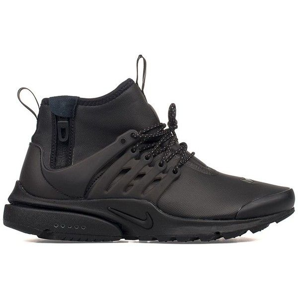 check out 2897e 1b477 Black Air Presto Mid Utility High Top Sneakers ( 87) ❤ liked on Polyvore  featuring shoes, sneakers, black, black trainers, nike sneakers, high top  sneakers ...