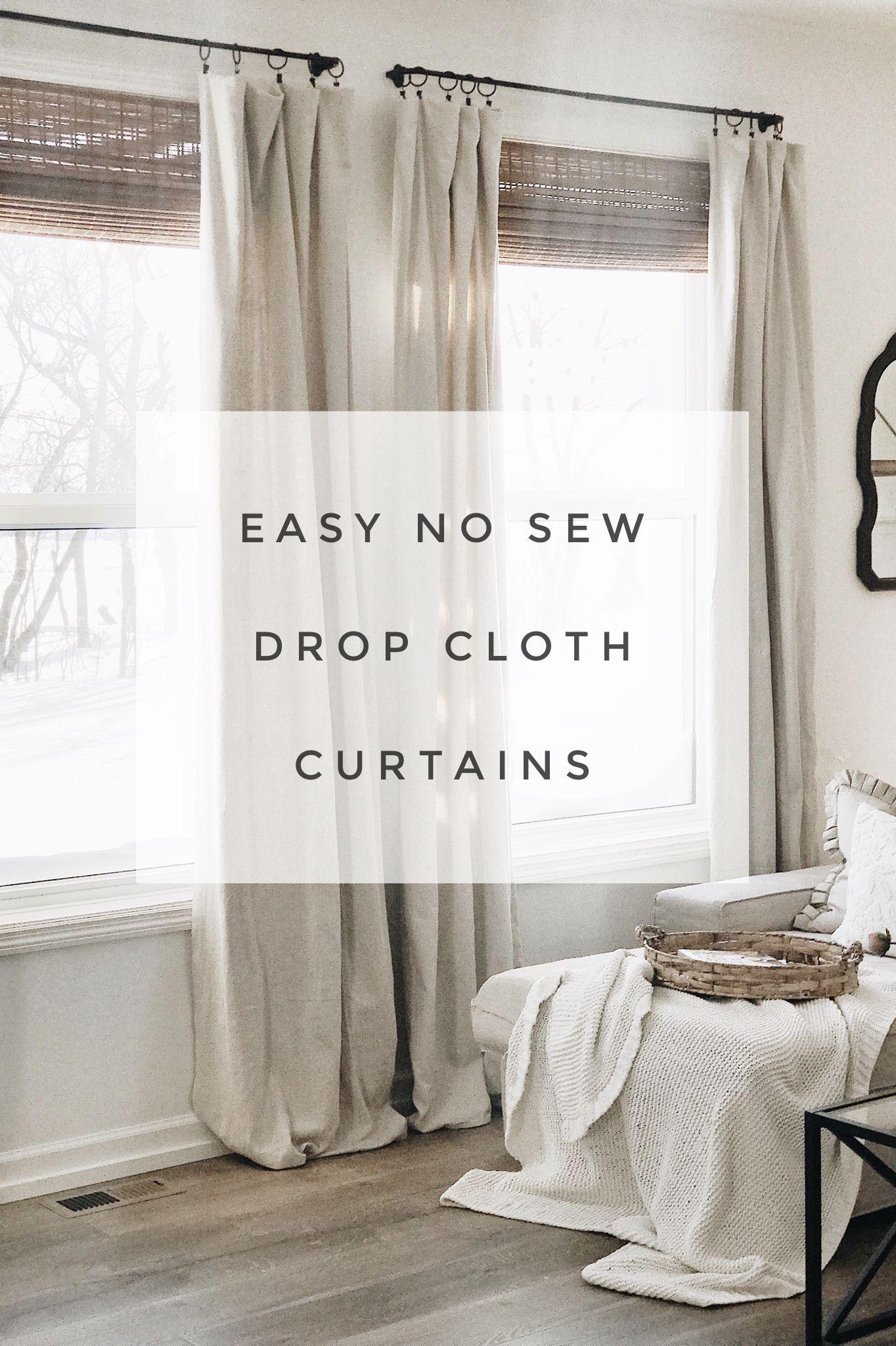 Photo of easy no sew drop cloth curtains  #diycurtains Modern Farmhouse style diy drop cl…