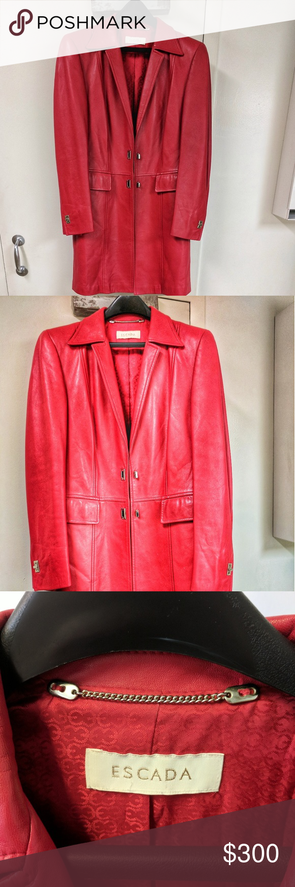 Escada Red Leather Jacket Soft Leather True Red Long Jacket Size M Escada Jackets Coats Trench Coats Red Leather Jacket Escada Jacket Leather Jacket [ 1740 x 580 Pixel ]