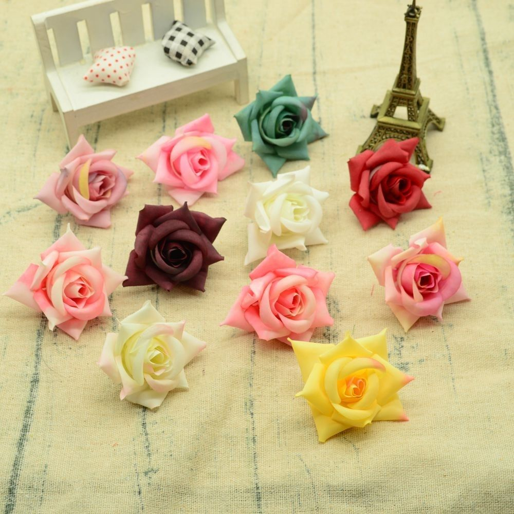 Silk Roses Head Artificial Flowers For Decoration Home Wedding Bridal Accessories Clearance Diy A Cap Gifts Box Christmas Wreath