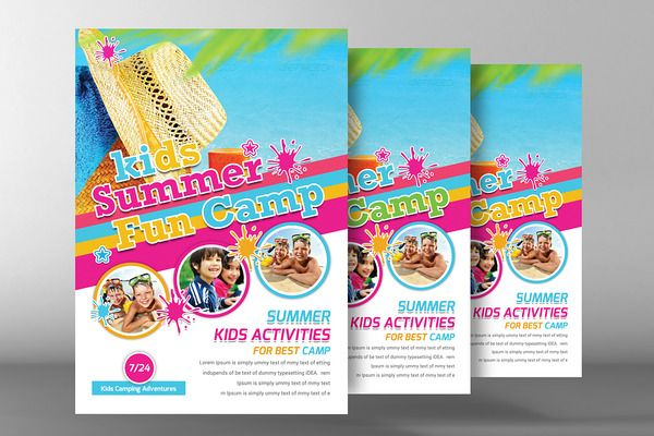 Kids Summer Camp Flyer Template  Kid Flyer Template And