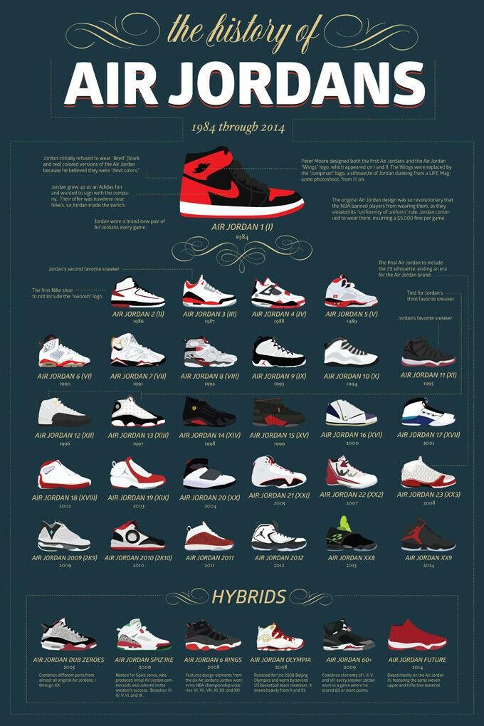 The History of Air Jordans Poster 24 X 36