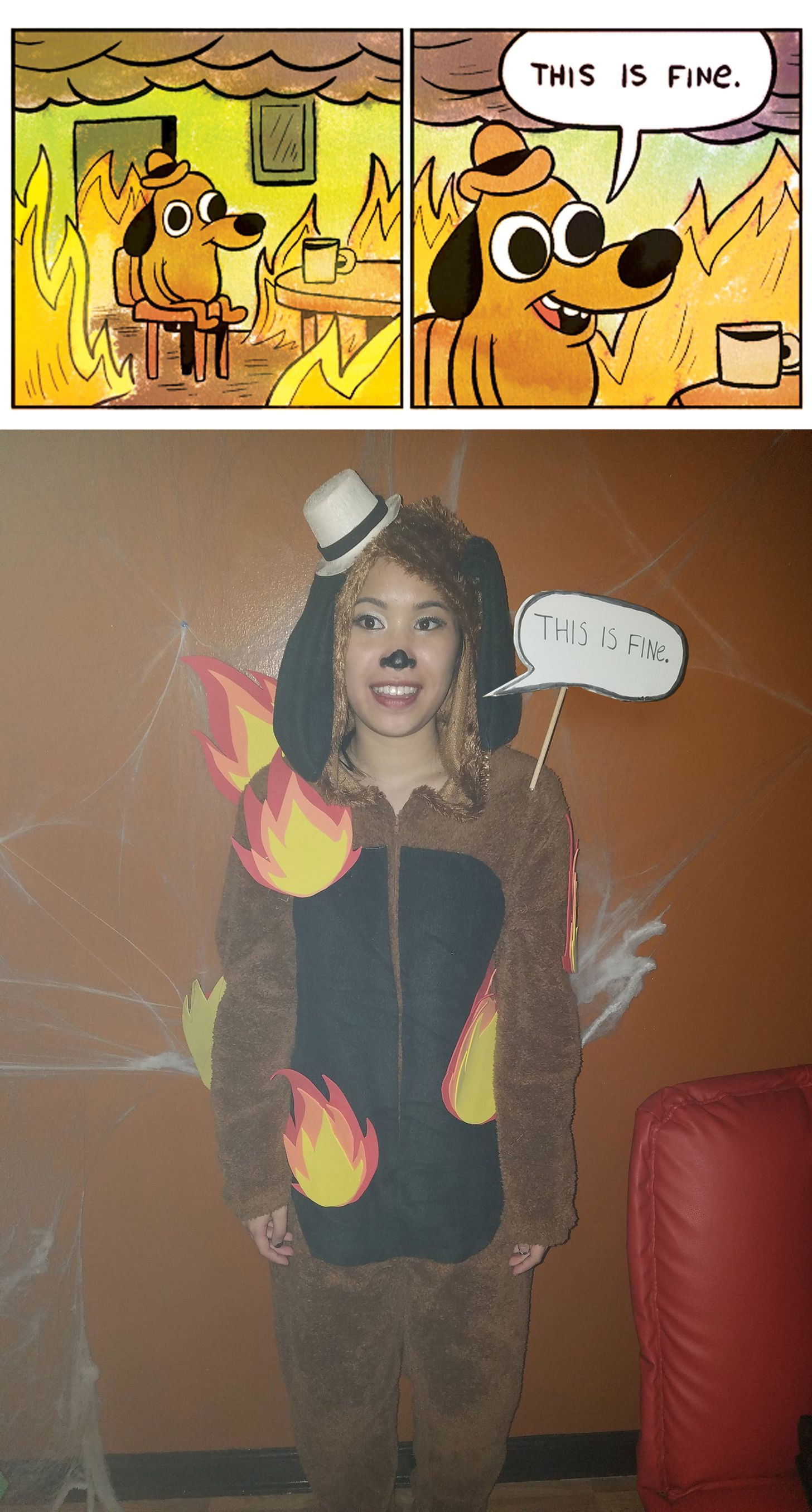 "My costume for Halloween. ""This is Fine"" Halloween"