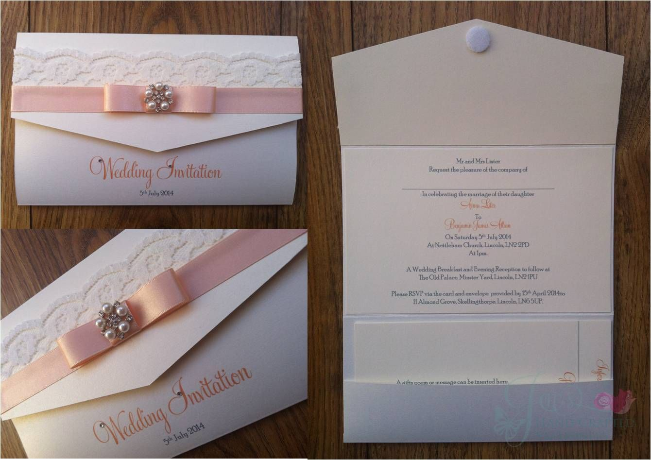 Peach and Lace Pocket Fold Wedding Invitation with crystal and ...
