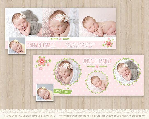 Flower Frame Newborn Facebook Timeline Cover Template Baby Girl – Facebook Birth Announcements