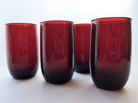 Anchor Hocking Royal Ruby Roly Poly Tumblers - Red Glass Juice Tumblers - Water Glasses - Depression Glass