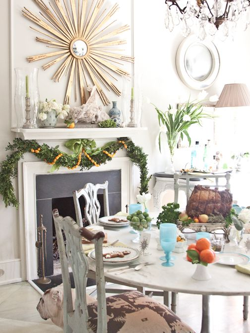 boxwood garland + gold mirror Christmas Ideas Pinterest