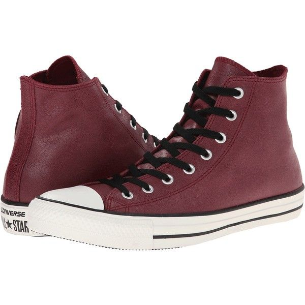 Converse Chuck Taylor All Star Vintage Leather Hi Lace up casual... ( 40) ❤  liked on Polyvore featuring shoes 5b84fc0b6