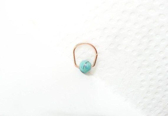 SALE -Helix, Turquoise Helix Earring, Helix Hoop, Ring pierced ear, ear jewelry,cartilage ring