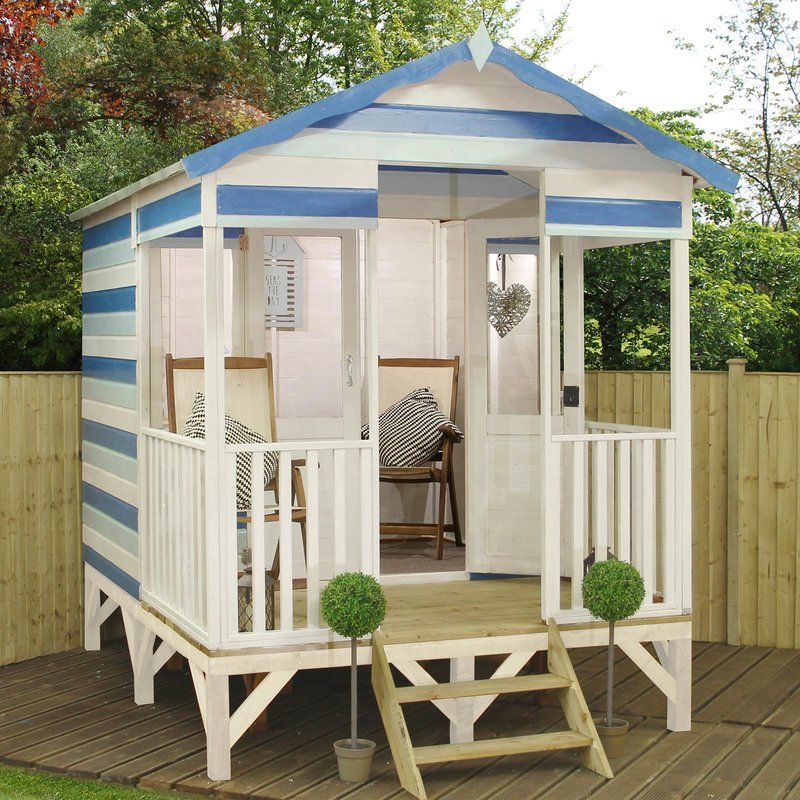 Premium 8 x 10 5 Ft  Summer House is part of garden Decking Platform - Brighten up your garden with the latest trend  Premium Beach Hut Summerhouse is the perfect alternative to a traditional garden summerhouse  This funky Beach Hut is on stilts and comes with a pressure treated raised deck platform and steps  Constructed from shiplap cladding, styrene glazing and large veranda this summerhouse will be to focal point of your garden for many years
