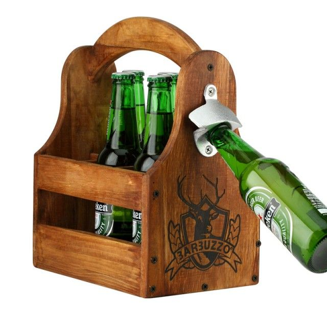 Handcrafted Rustic Wood Beer Tote Personalized With A Large Monogram Letter Caddy Come With Rustic Opener And Personalized Brewery Logo On Beer Wood