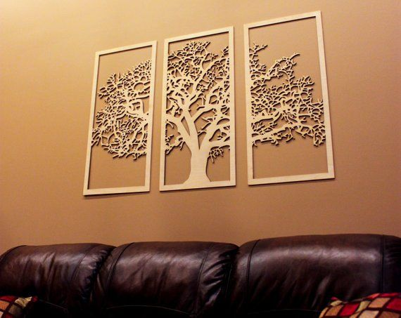 Tree Of Life 3 Panel Wood Wall Art Hanging Living Room Large Decor