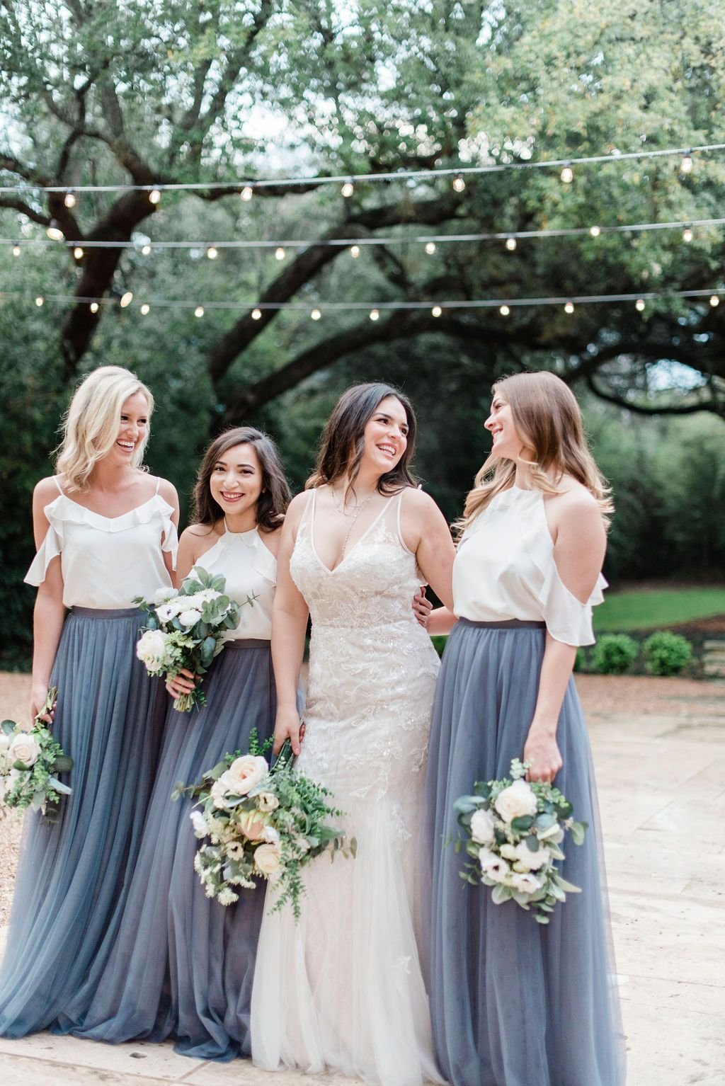 Off The Shoulder Chiffon Bridesmaid Tops Paired With Our Skylar Tulle Skirt In Shades D Tulle Skirt Bridesmaid Bridesmaid Dresses Boho Bridesmaid Skirt And Top