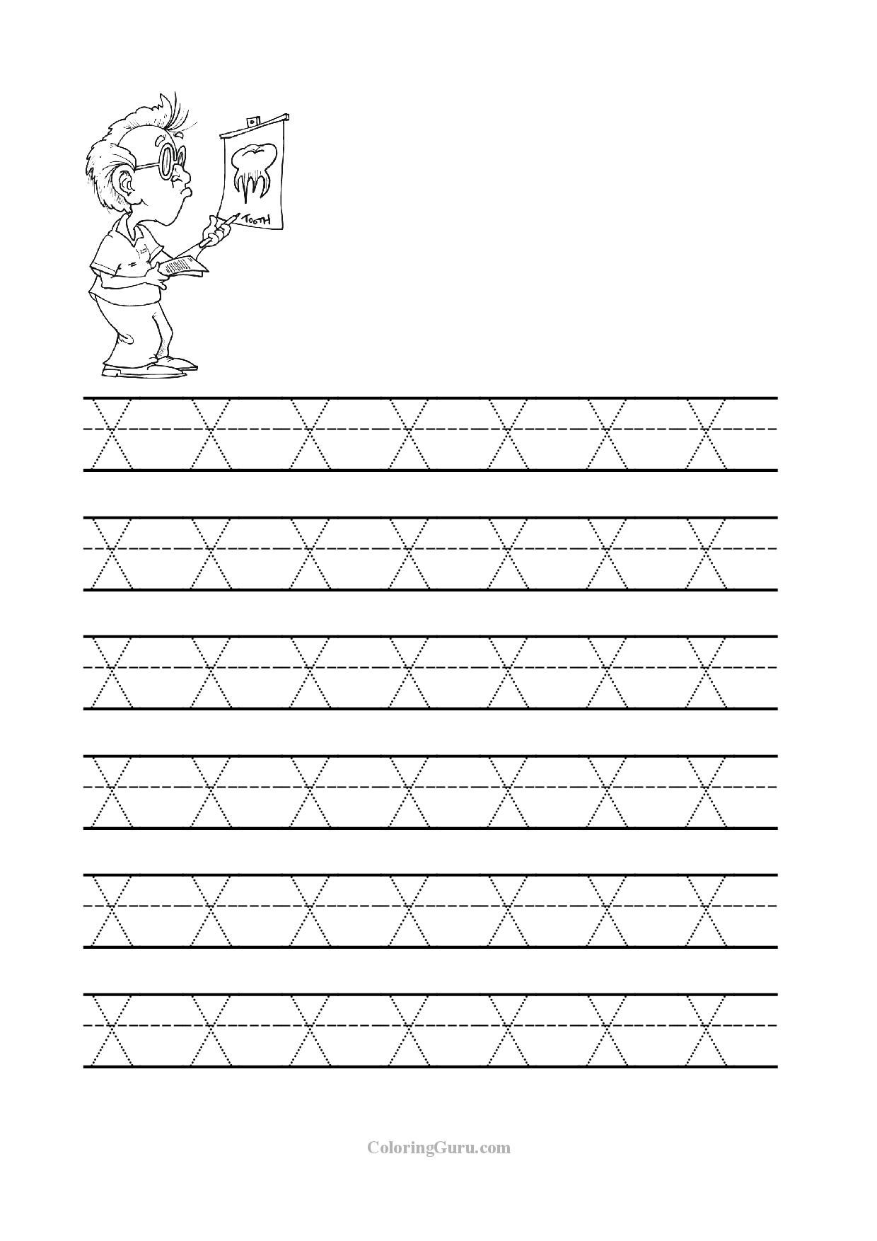 free printable tracing letter x worksheets for preschool coloring pages for kids. Black Bedroom Furniture Sets. Home Design Ideas