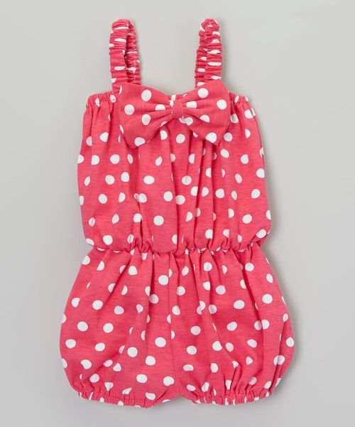 Look what I found on #zulily! Hot Pink Polka Dot Cinched Waist Romper - Infant by Baby Gem #zulilyfinds